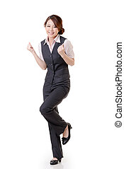cheerful - Cheerful Asian business woman dancing and feel...