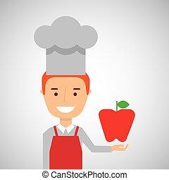 cheerful chef fresh apple graphic