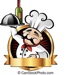 Cheerful Chef Illustration - Cheerful chef serving dinner at...