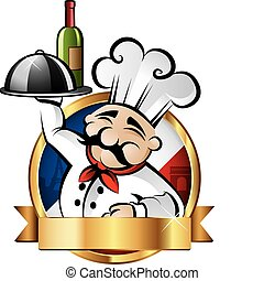 Cheerful chef serving dinner with Paris in the background - room for your text