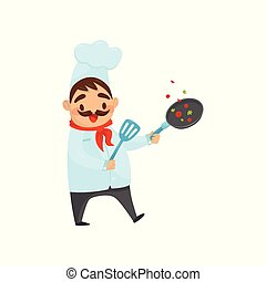 Cheerful chef in process of cooking food. Man with pan and spatula in hands. Cook dressed in traditional uniform. Flat vector icon