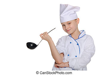 Cheerful chef with ladle