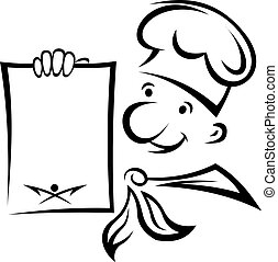 Cheerful chef with menu paper for food cooking design