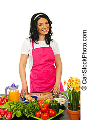 Cheerful chef woman