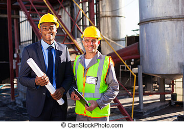 chemical industry manager and worker - cheerful chemical...