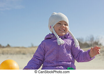 Cheerful child girl outdoor