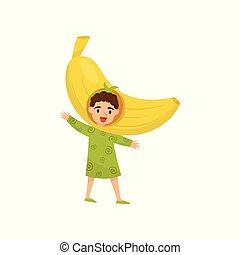 Cheerful child in headwear in form of yellow banana. Funny little girl dressed as fruit. Flat vector for poster or children book