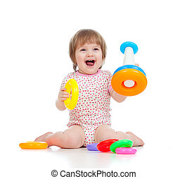 cheerful child playing with colorful toy isolated on white
