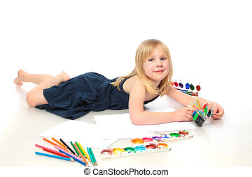 cheerful child with paint end pensil