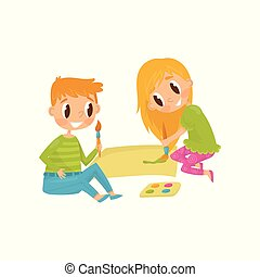 Cheerful children drawing picture. Tools for painting paper, brushes and paints. Cartoon kids characters. Flat vector design