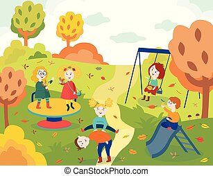 Cheerful children playing outdoors in autumn park and swinging.