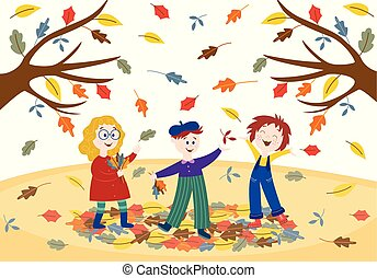 Cheerful children playing outdoors in autumn park or garden.