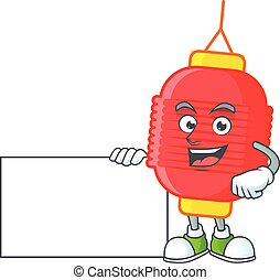 Cheerful chinese lantern cartoon character having a board