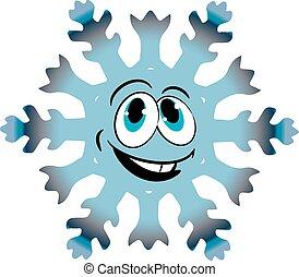 Cheerful Christmas snowflake, cartoon on white background,