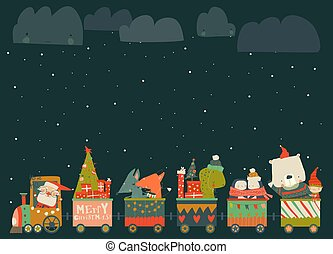 Cheerful Christmas train with Santa and animals