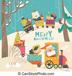 Cheerful Christmas train with Santa, children and animals