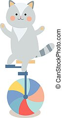 Cheerful circus playing cat