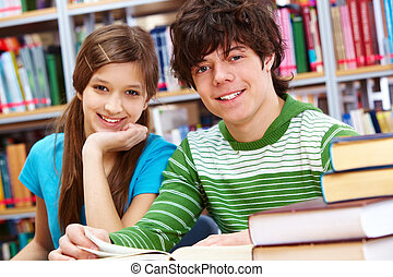 Cheerful classmates - Portrait of positive students looking...