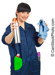 Cheerful cleaning worker woman