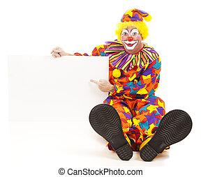 Cheerful Clown Has Message - Cheerful birthday clown points...