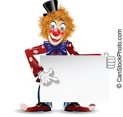 cheerful clown with a white placard