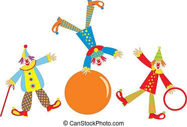 Cheerful clowns - Three cheerful clowns for children holiday...