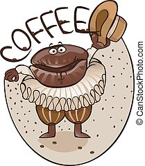 Cheerful coffee grain dances dance