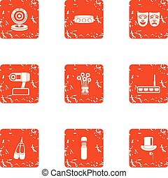 Cheerful concert icons set, grunge style