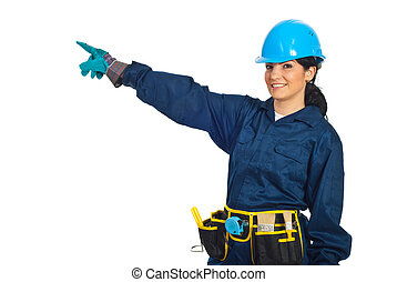 Cheerful constructor worker pointing - Cheerful constructor...