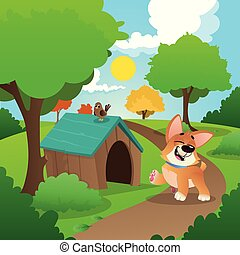 Cheerful corgi walking in park. Nature landscape with green grass, trees, bushes and wooden dog s house. Summer background with blue sky and white clouds. Flat vector