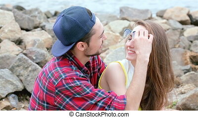 Cheerful couple in love. Tenderness touch foreheads