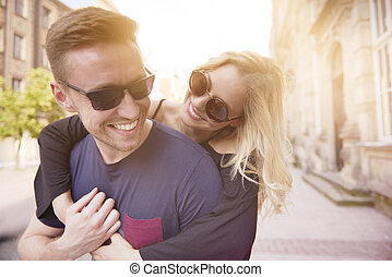 Cheerful couple in the city