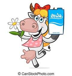 Cheerful cow holding carton of milk