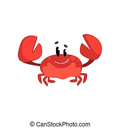 Cheerful crab character with claws raised, cute sea creature with funny face vector Illustration on a white background