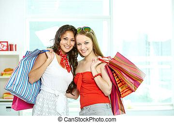 Cheerful customers