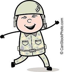Cheerful - Cute Army Man Cartoon Soldier Vector Illustration