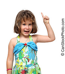 cute little girl pointing with finger up