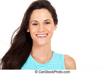 cheerful cute young woman closeup