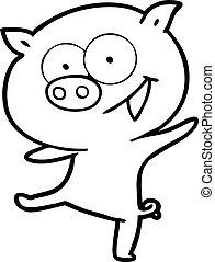 cheerful dancing pig cartoon