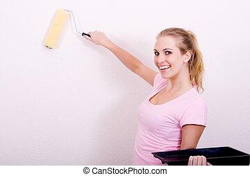 cheerful DIY woman