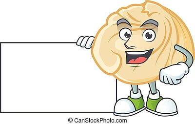 Cheerful dumpling cartoon character having a board
