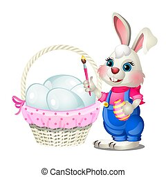 Cheerful Easter bunny with a brush in his paws and a basket of chicken eggs isolated on white background. Vector cartoon close-up illustration.