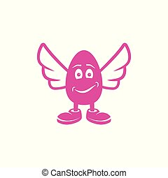 Cheerful egg character with legs and wings.