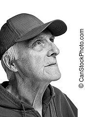 cheerful elderly man