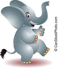 Cheerful elephant raising his hands - vector illustration of...