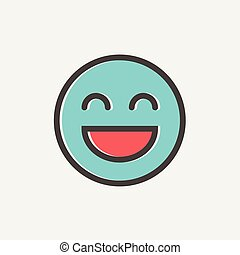 Cheerful emoji thin line icon