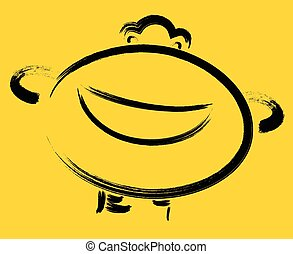 Cheerful emoticon on yellow background. EPS10 vector illustration