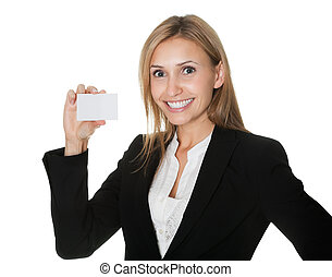 Cheerful executive with a blank business card