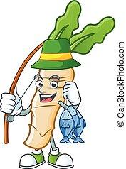 Cheerful face Fishing horseradish mascot design style. Vector illustration