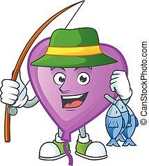 Cheerful face Fishing purple love balloon mascot design